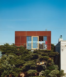Aidlin Darling's design for a three-story, Cor-Ten steel addition to a beachfront house in San Francisco was featured in the September 2007 edition of Dwell. Photo by Robert Schlatter.