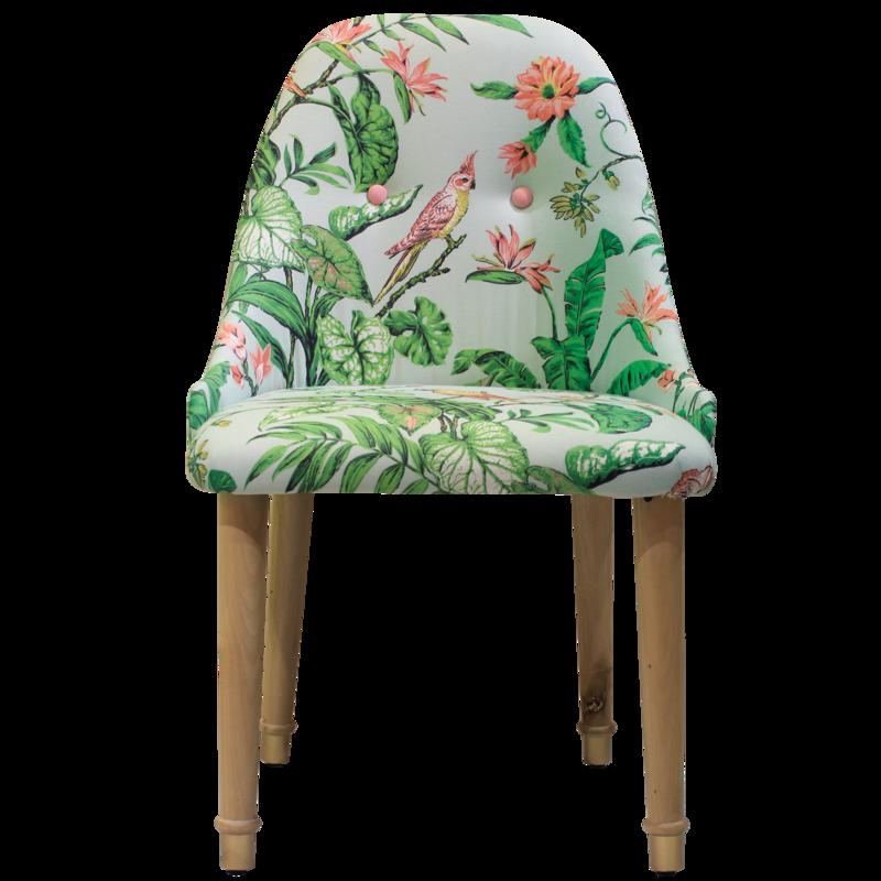 Heima's Arizona chair, upholstered in a tropical print.