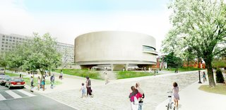 The BIG proposal would lower the outer ring wall of the curved Hirshhorn Museum, designed by Gordon Bunschaft, to improve accessibility.