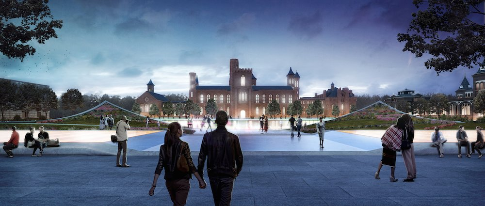 A view of the enhanced south campus, presenting a vision of a more integrated square. The renovation's estimated price tag, $2 billion, would be paid by a combination of federal funds and private donations.  Photo 6 of 8 in BIG Presents New Vision for Smithsonian Campus in Washington