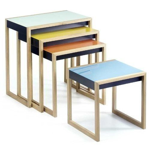 Living Room: Updating your living room can be as simple as a few new side tables. Try the exquisitely reproduced Albers Nesting Tables made in solid oak and MDF topped with lacquered glass tops in sumptuous shades of green, yellow, orange and blue.