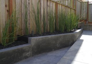 """""""It was nothing but a muddy pit,"""" landscape architect Terence Lee says about the 500-square-foot yard behind his Pacifica, California, house. Instead of filling the space with potted plants or paving it over for a quick fix, Lee devised a simple budget-friendly plan involving tilted lines and a few plants to fashion a functional, low-maintenance space fit his family of five's lifestyle."""