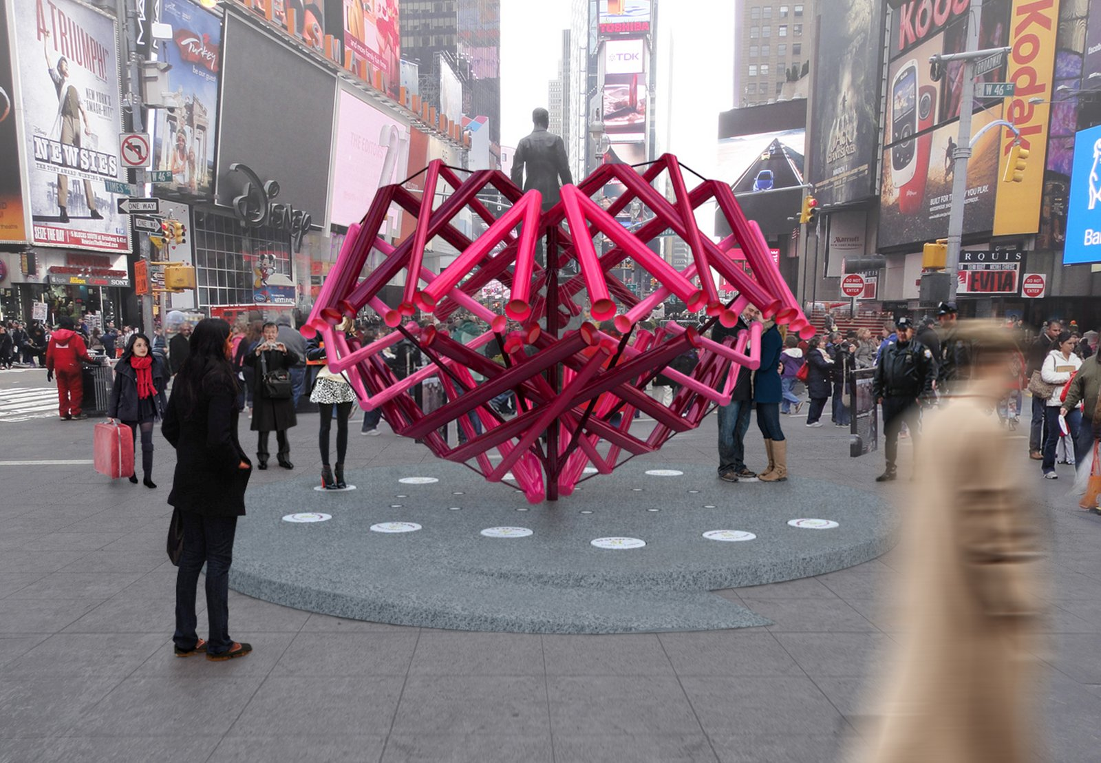"""Match-Maker"" is designed to take on the iconic heart shape from some vantage points, though it appears as an abstract, zigzagging network of tubes from others. Photo courtesy of Young Projects.  Photo 1 of 2 in Brooklyn Design Studio Wins Annual Times Square Heart Competition"