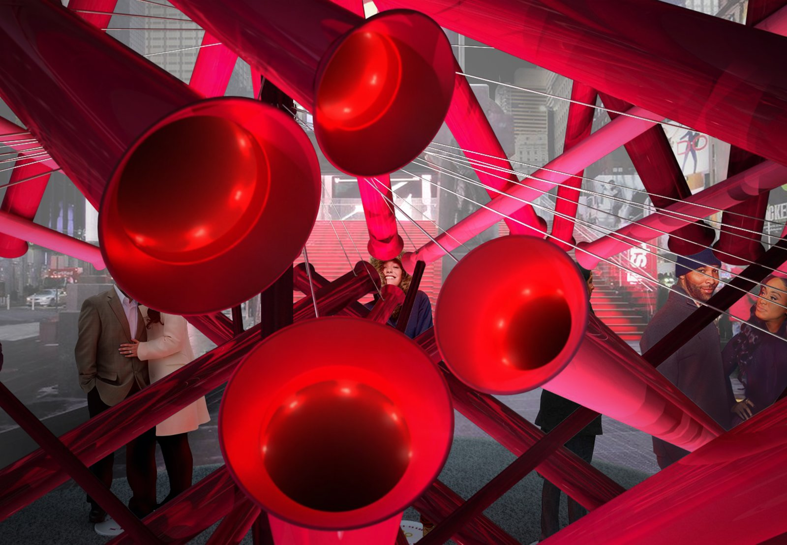 The tubes are actually periscopes that connect the viewer with up to four ideal astrological matches. Photo courtesy of Young Projects.  Photo 2 of 2 in Brooklyn Design Studio Wins Annual Times Square Heart Competition