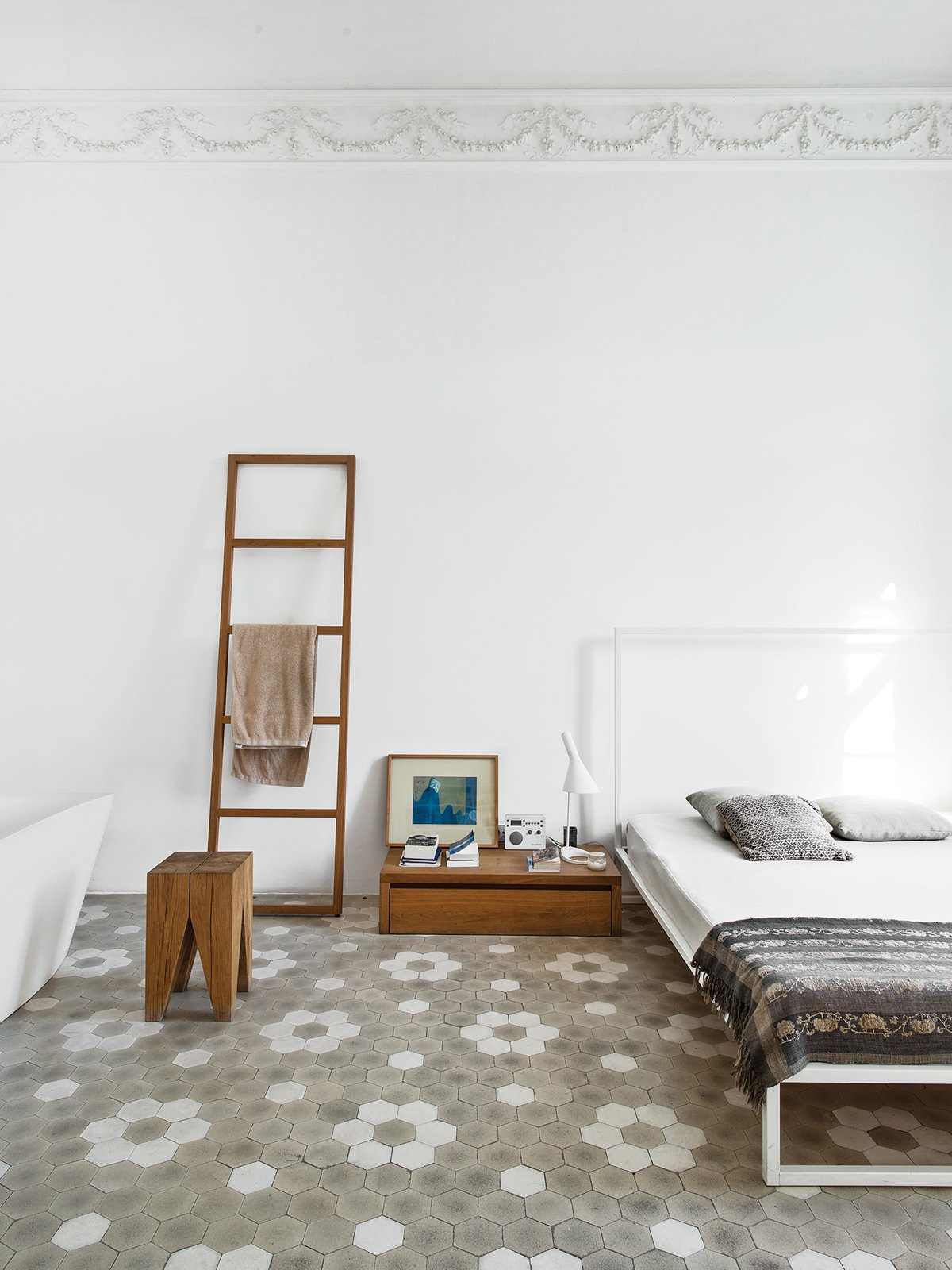 Bedroom, Bed, Night Stands, and Lamps The master bedroom includes a Mini bed by Emaf Progetti for Zanotta, a tub by Sanico, and a towel rack and side table by Philipp Mainzer.  Bedroom from Love at First Sight