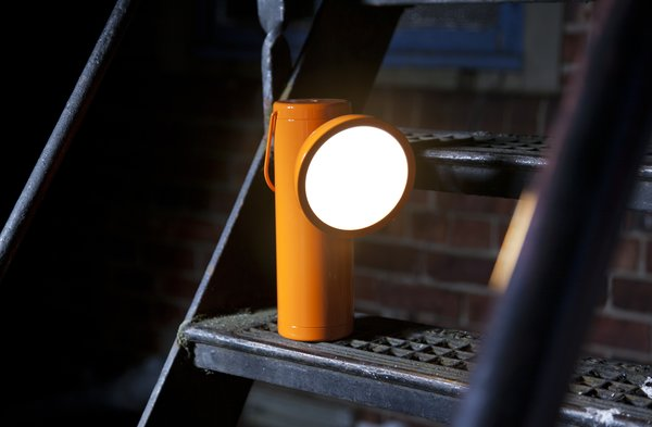 """The first project that Irwin and Madjarian worked on was the wireless M Lamp, an innovative lighting solution that blends portability and function with high design. The inspiration from the portable lamp came from historic mining lamps, and the silhouette recalls this vision, while giving it a sleek, modern slant. According to Madjarian, they created a lamp that was """"ultra simple looking, but the guts of the lamp are complex."""" The M Lamp was created without precedence, making it a challenging project that took several years to fully realize. Now completed, the M Lamp is a truly distinctive light source that marries utility with sophisticated design."""