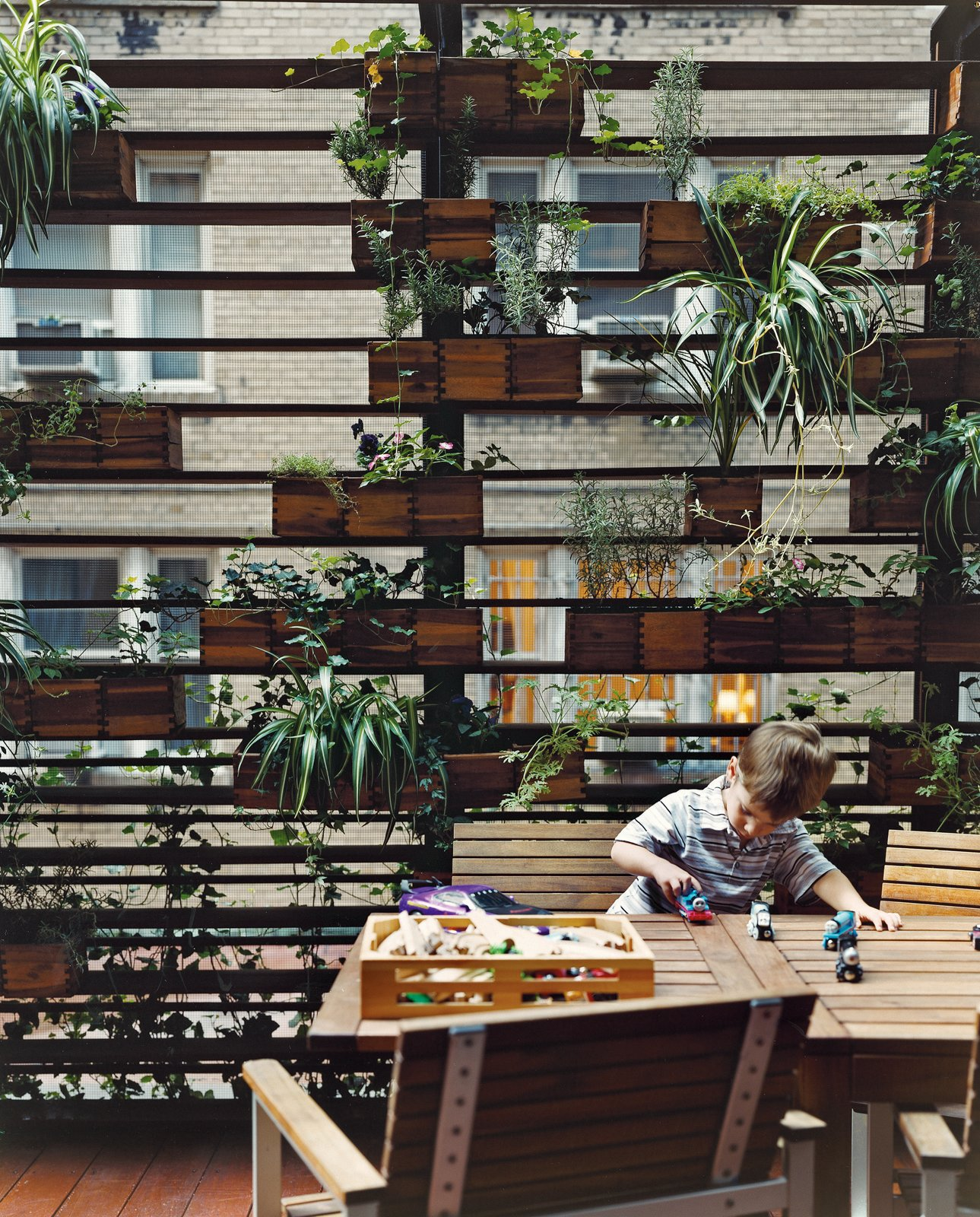 The Zizmors' son plays in front of a living wall created by urban landscaper Kari Elwell Katzander of Mingo Design.  Plants from Outdoor Living in NYC