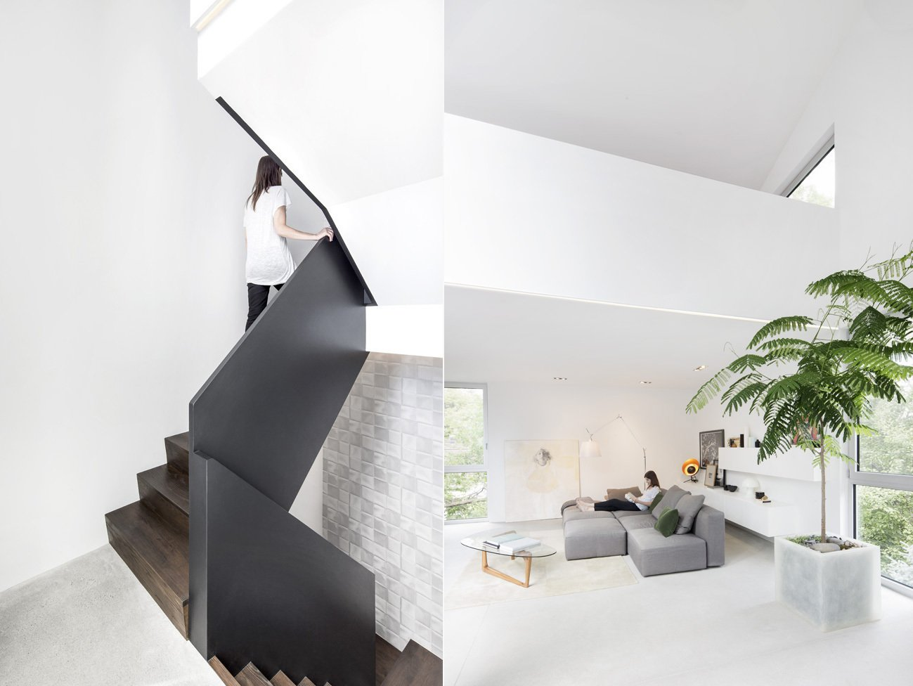 """Balaban designed the staircase to read like a piece of furniture. It features handsome wood steps and a metal railing. Balaban flipped the traditional hierarchy of the house and placed bedrooms on the ground floor and living spaces on the second story. """"We ran through a lot of design iterations during the concept phase—some of them were a bit off the wall—before finally settling on the form and the concept of inversing the spaces and digging out the courtyard from the center of the house,"""" Balaban says. """"We all went through a few months of weekly meetings and iterations to fine tune the design and the spaces, choose the materials and settle on the details. We tried just about every combination and permutation of spatial organization and stair configuration possible. The shape of the courtyard also evolved to respond to the spaces moving around. Time was an important and indispensable ingredient in the process!""""  """"The living space is located on the upper floor and it's quite pleasant,"""" Vu says. """"The space is flooded with natural light all year long and has a view of mature trees in the neighborhood—it's stunning. We almost feel like we're in the countryside!""""  Photo 4 of 12 in 11 Modern Stairways That Do Way More Than Just Connect Floors from A Minimal, Metal-Clad Montreal House With A Hidden Courtyard"""