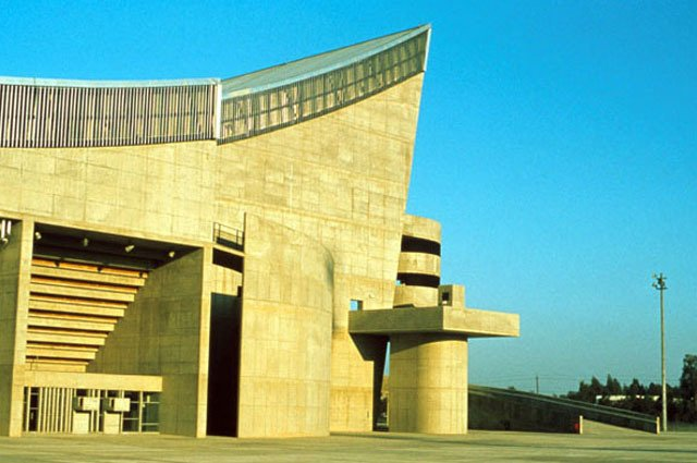 Saddam Hussein Gymnasium in the Le Corbusier-designed Sports Complex in Baghdad, view to main entrance.  Photo 5 of 10 in Architecture in Baghdad