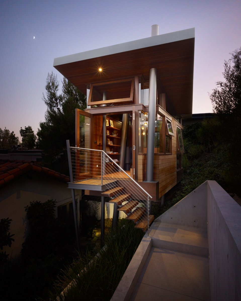 modern tree house with midcentury style exterior