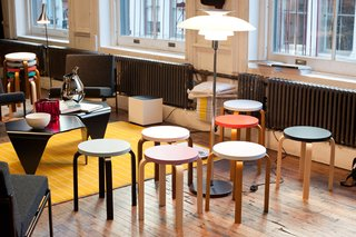 Los Angeles purveyor of Scandinavian wares Austere created a lounge equipped with Alvar Aalto's classic Artek stools.