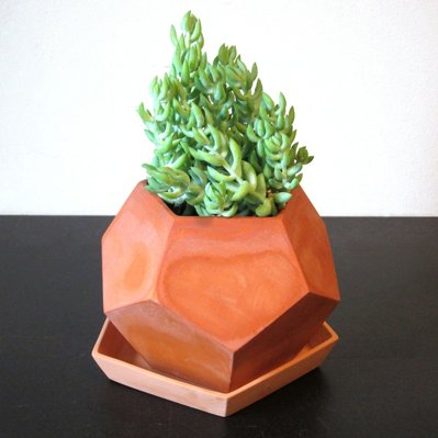 Terra-cotta planters are ubiquitous, but these pots (available in white or natural clay) by Brooklyn-based designer Megumi Yoshida update the typology with a mod geometric bent. Read more about the Faceted Planter here.