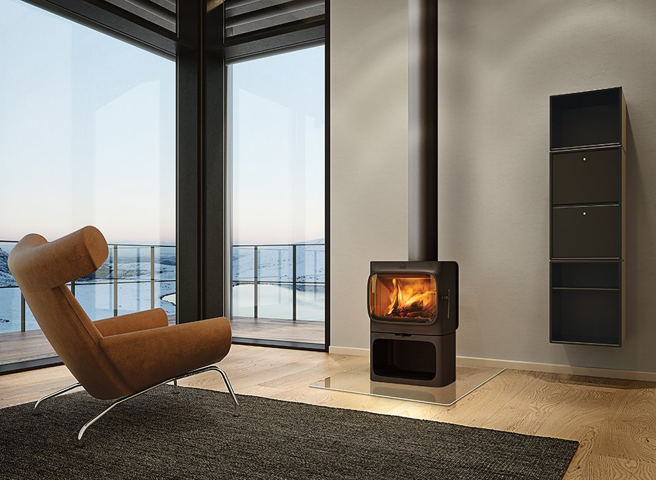 Anderssen & Voll's F 305 stove has a flat top that allows for secondary functions such as cooking and baking. The appliance is available worldwide as of November 2014; Jøtul is also planning to release a soapstone heat tray and an enamel cooktop for the stove in the upcoming months.  Modern Wood-Burning Stoves by Megan Hamaker from Modern Take on a Classic Cast-Iron Stove