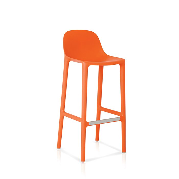 Broom stool by Philippe Starck for Emeco, $350  When we think of good design, manufacturing processes along with functionality and aesthetics factor high on our list. Broom is 75 percent waste polypropylene and 15 percent reclaimed wood shavings, and it is made in the USA. The back rises about a foot taller than the rounded seat, offering support. It comes in six colors and in bar and counter heights.  Photo 5 of 8 in How to Find the Perfect Modern Bar Stool