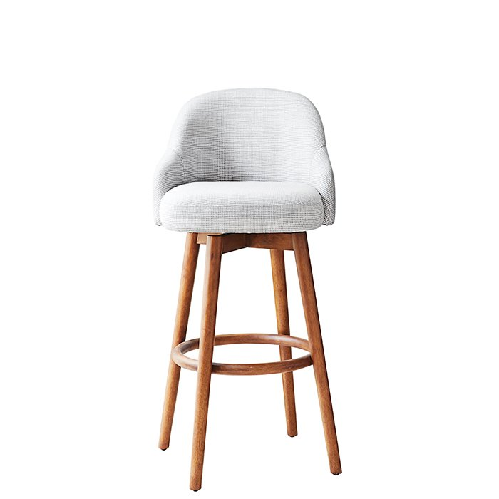 Saddle bar and counter stool by West Elm, from $369  Upholstered chairs offer more cush for your tush but take up more room. It's 20 inches wide, so you won't be able to squeeze in as many stools, but those who manage to snag a seat will be rewarded with a plush perch. The back rises 11 inches from the seat (set on a swivel) and offers contoured arm rests. westelm.com  Photo 7 of 8 in How to Find the Perfect Modern Bar Stool