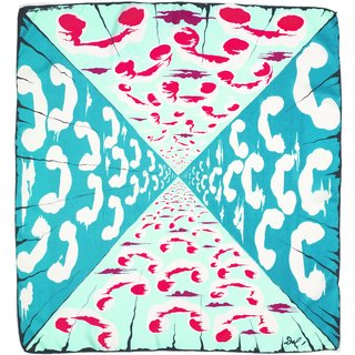 """""""Number, Please?"""" a silk scarf designed by Salvador Dali for Wesley Simpson circa 1947. The design is derived from a sequence in Destino, Dali's animation for Disney from 1946. Courtesy of the Fashion and Textile Museum."""