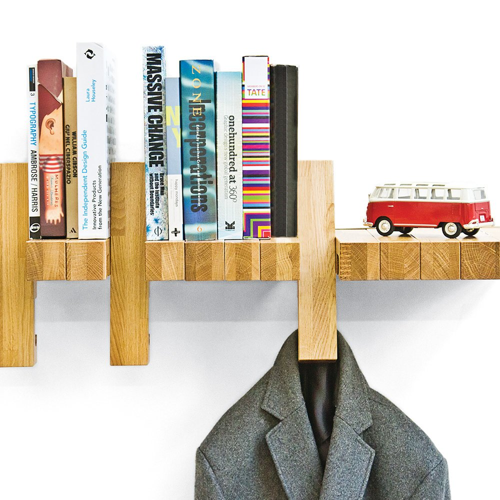 Fusillo Wall Shelves  Modules in this flexible wall-mounted shelf rotate to act as a bookend or a hanger.  Tiny Furniture: Diminutive Home Picks  by Kelsey Keith