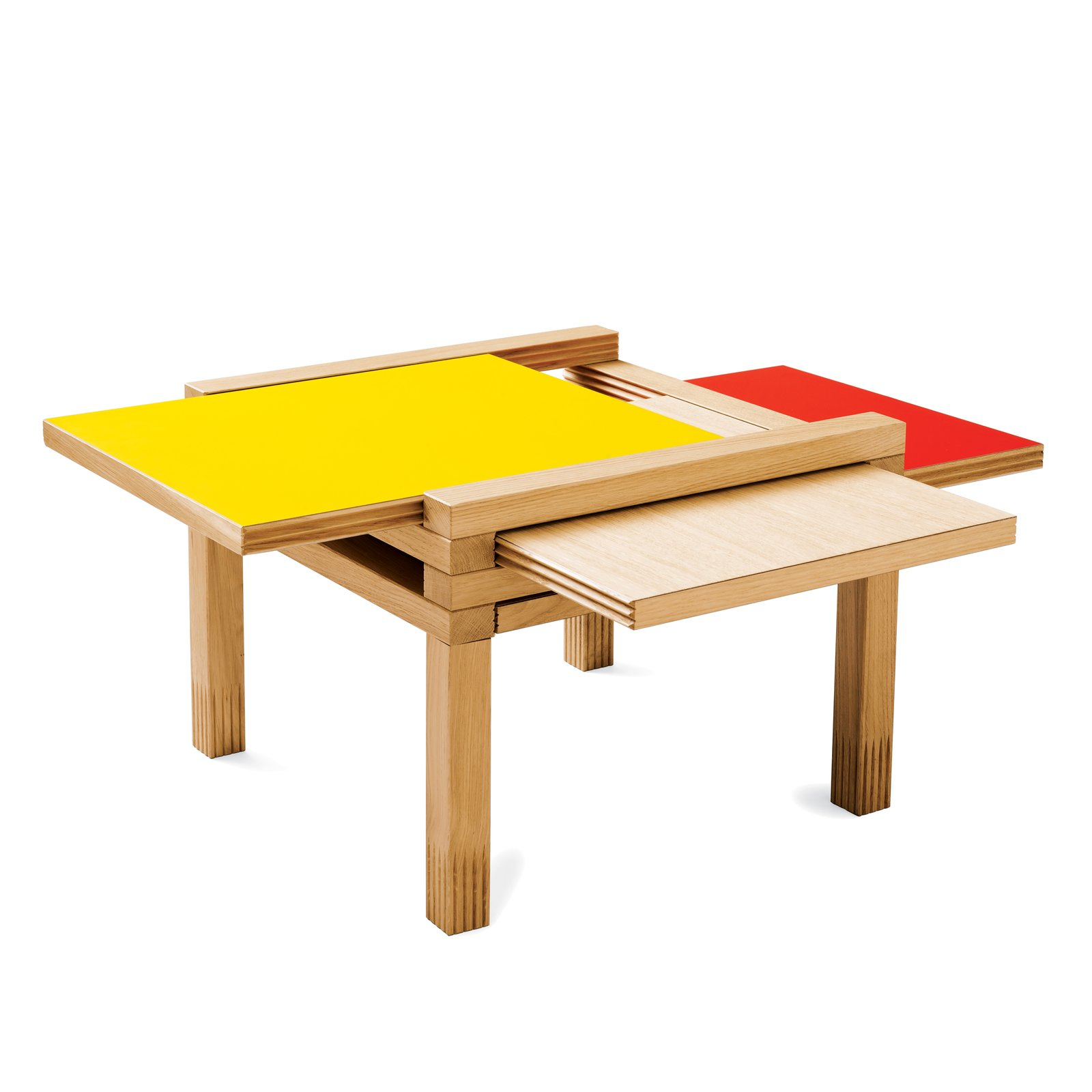Par4 Coffee Table  Four multi-colored tabletops reverse and slide out to expand the usable surface.  Tiny Furniture: Diminutive Home Picks  by Kelsey Keith