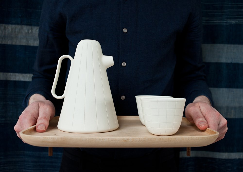 Sucabaruca's form calls to mind a diverse set of cultural imagery. According to Nichetto, the cone-shaped body recalls 'Carmencita,' a famous character created by Armando Testa in 1966 for the  television show 'Carosello'.  Photo 2 of 6 in Product of the Day: Ceramic and Wood Coffee Set by Luca Nichetto