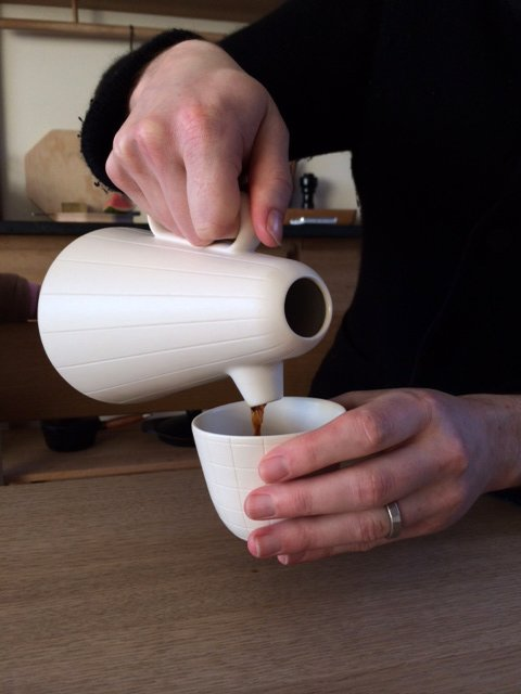 Demonstrating how to pour with a Sucabaruca prototype at Mjölk.  Photo 4 of 6 in Product of the Day: Ceramic and Wood Coffee Set by Luca Nichetto