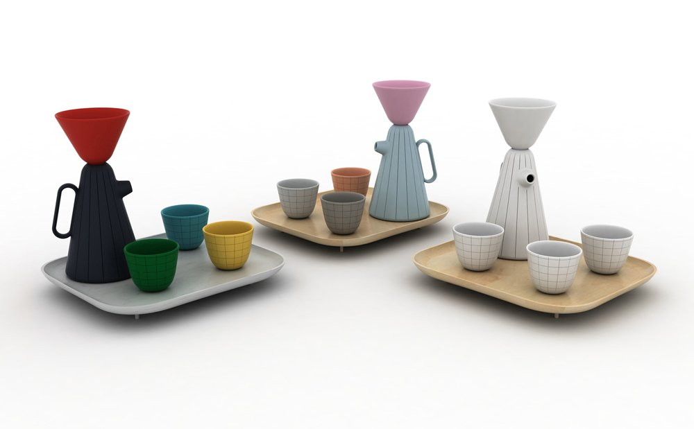 Nichetto has prototyped three colorways, from Margiela-inspired all-white to pastel tones, characteristic of Japanese architecture, and bright Pop colors that pay tribute to the Memphis movement and artist Jean-Paul Goude.  Photo 5 of 6 in Product of the Day: Ceramic and Wood Coffee Set by Luca Nichetto