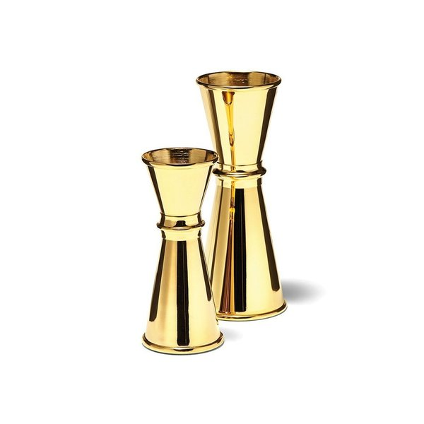 Available in both 1 oz. and 2 oz. sizes, the gold-plated jiggers are an elegant addition to a barware collection. The 1 oz. jigger includes vessels for both ½ ounce and 1 ounce of liquid, and the 2 oz. jigger includes vessels for both 1 ounce and 2 ounces of liquid. Both jiggers have a simple silhouette that resembles a classic hourglass.
