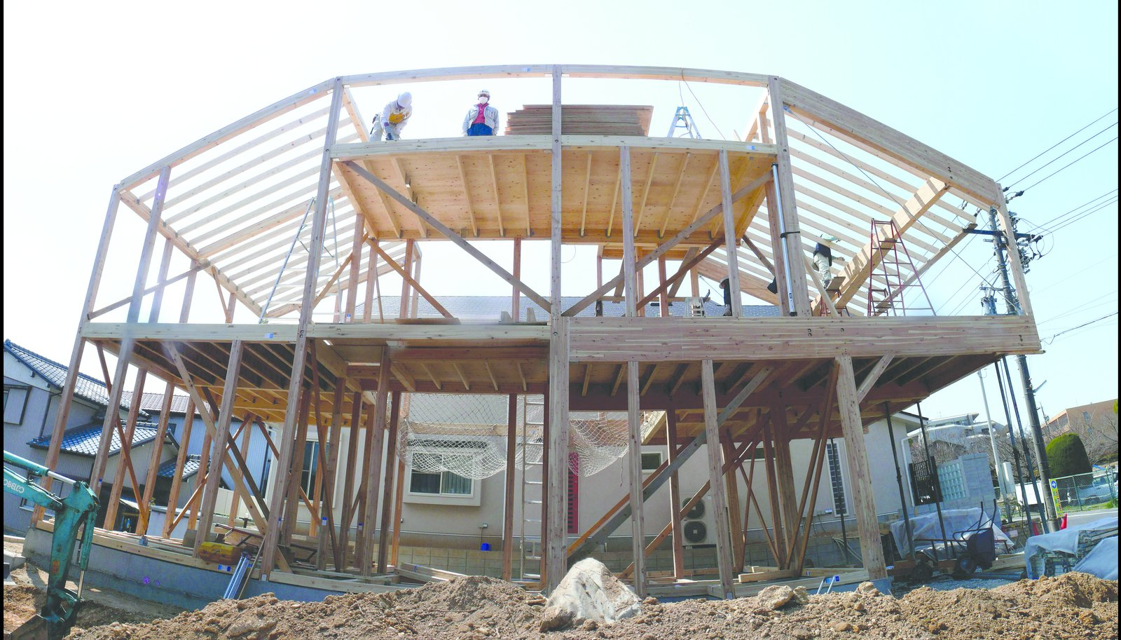 """A shot of the Hansha Reflection House under construction. Photo courtesy of Studio SKLIM.  Photo 3 of 6 in """"Quake"""" Exhibit Explores Intersection of Architecture and Engineering"""