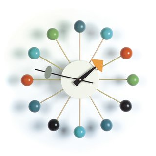 Now considered an icon of midcentury design, the Ball Clock is a distinct departure from traditional clocks with faces enclosed in glass—alternatively, the Ball Clock is comprised of twelve brass spindles that end in solid hardwood spheres that mark the time, instead of a conventionally numbered face. The clock hands have clearly marked indicators, which is consistent with many of George Nelson's other clock designs.   This clock, along with other Vitra designs, is 15% off until October 22, 2015.