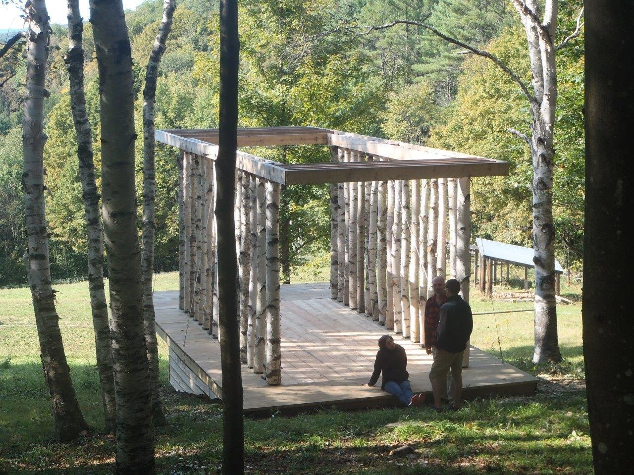 Overhanging rafters establish vestibules at both ends of the structure. Photo courtesy of Moskow Linn Architects.  Photo 2 of 7 in Aspiring Architects Build a Pavilion in the Vermont Forest