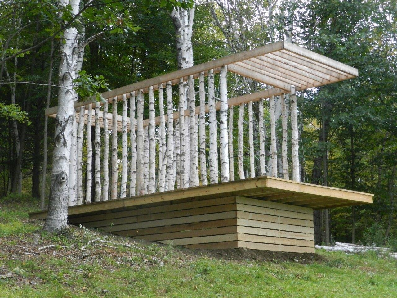 The pavilion is framed with 34 lenghs of timber, each about 8 inches in diameter and cut to a length of 9 feet. Photo courtesy of Moskow Linn Architects.  Photo 3 of 7 in Aspiring Architects Build a Pavilion in the Vermont Forest