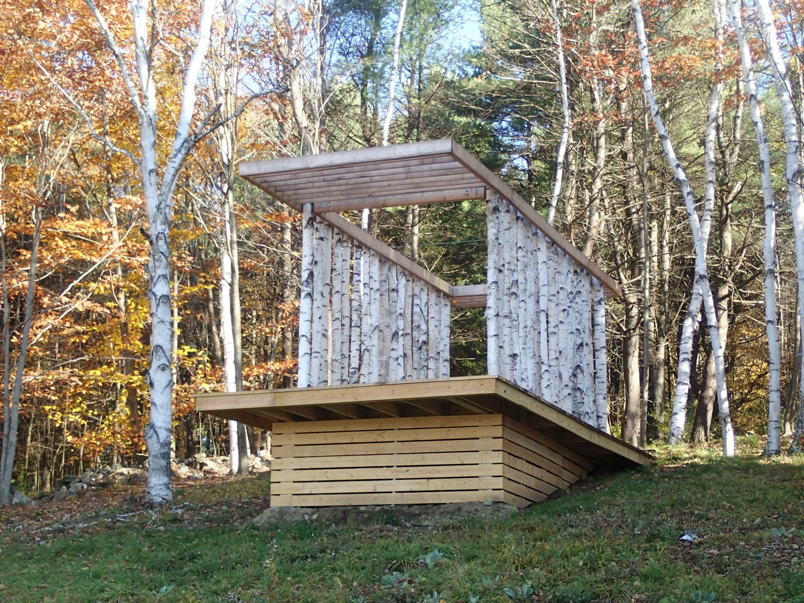 Construction of the pavilion was completed in the summer of 2013. Photo courtesy of Moskow Linn Architects.  Photo 6 of 7 in Aspiring Architects Build a Pavilion in the Vermont Forest