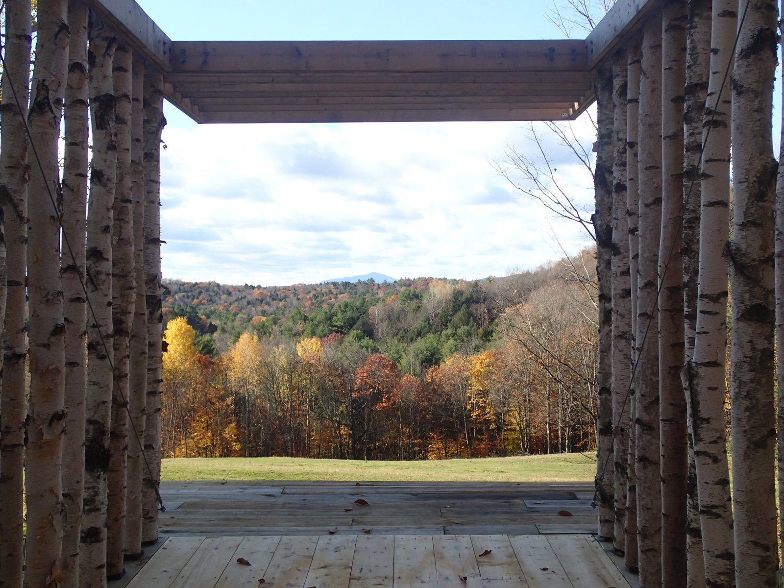 The pavilion frames a view of the peak of Mt. Ascutney, 25 miles in the distance. Photo courtesy of Moskow Linn Architects.  Photo 7 of 7 in Aspiring Architects Build a Pavilion in the Vermont Forest