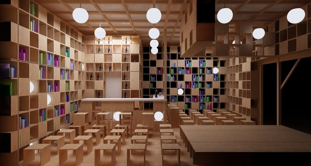 Thirsting for more than knowledge? Moving beyond books, the pavilion features a bar for those who fancy a nightcap after that next page. Photo courtesy of Ruetemple Architectural Studio.  Innovative Outdoor Libraries in Russia by Jacqueline Leahy