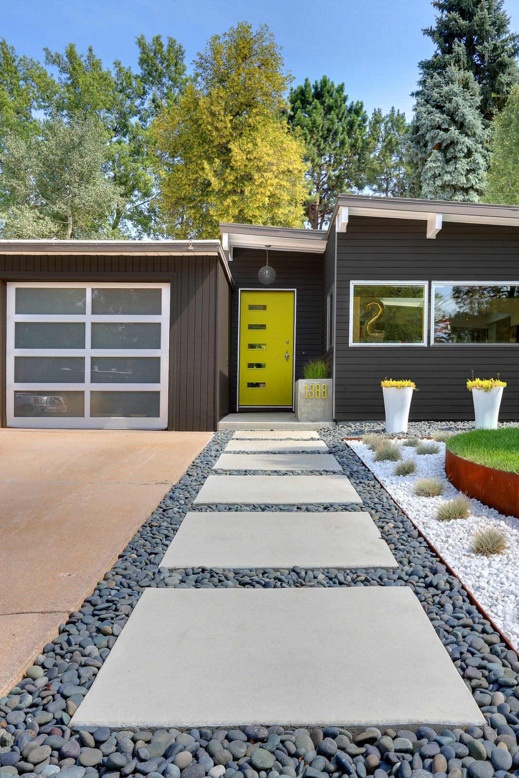 Outdoor, Front Yard, Walkways, and Hardscapes Generous concrete pavers lead to the entrance. The home's angles are typical of the midcentury homes in the neighborhood.  Modern Homes in Colorado by Luke Hopping from A Low-Maintenance Landscape for a Midcentury Denver Home