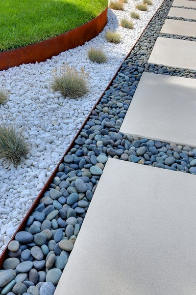 Permeable hardscaping retains moisture and helps reduce the need for watering.