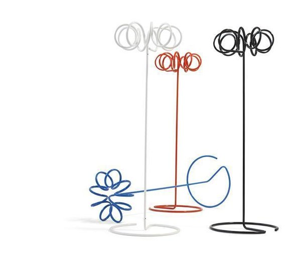 Staffan Holm's VISP coat rack designed for Blastation is a piquant accent in any room. Coiled tubular steel coils grounded by plastic feet offer floor-friendly, lightweight storage space.