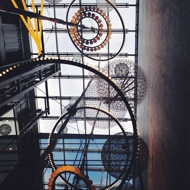 Not a bird, nor a plane, but a fanciful ceiling by Marcel Wanders for Amsterdam's new Andaz hotel.  Design Guide to Amsterdam by Kelsey Keith