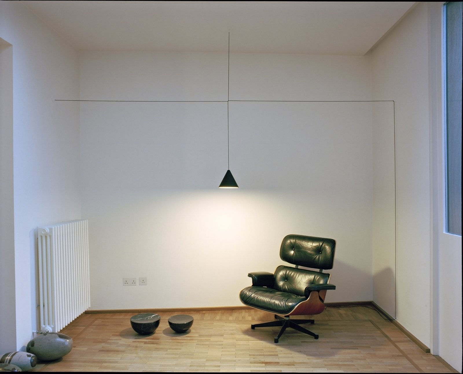 Scheduled for release in May 2014, Flos' String Lights can be combined and customized. They are held together with thin black electrical cords that are drawn into taught, geometric shapes. Photo by Ben Murphy.  Photo 5 of 6 in Jan Vingerhoets of Flos on the Future of Lighting Design