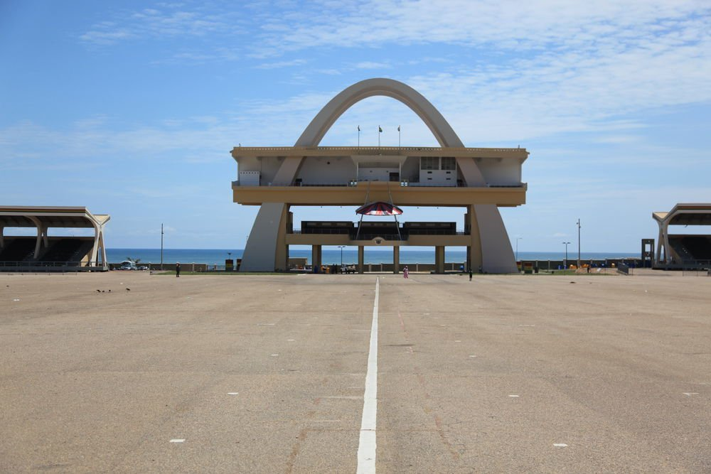 """Independence Arch. 1961. Designed by the Public Works Departments. Accra, Ghana.  Search """"arch support"""" from Bold Modernist Architecture Across Africa"""