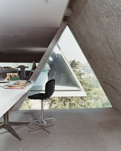 Office, Chair, Desk, and Concrete Floor Agustín Hernandez's home office.  Interiors from Hecho in Mexico City