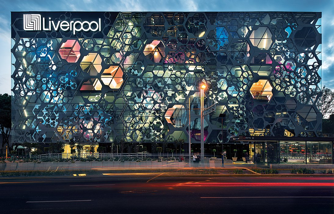The firm punctured the facade of a Liverpool department store in Mexico City that opened in 2013, creating hexagonal apertures among the layers of aluminum, steel, and fiberglass.  Photo 9 of 10 in Rojkind Arquitectos is Transforming Mexico City, One Whimsical Building at a Time