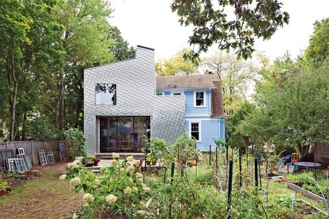Outdoor, Gardens, and Garden Adventurous but subtle. Something different that doesn't scream for attention. These were the prompts John and Erika Jessen gave to architect Elijah Huge for the addition to their 1920s home in New Haven, Connecticut. Photo by Andrew Rowat.  16 Funky Facades by Andrea Smith from Modern Shingled Houses