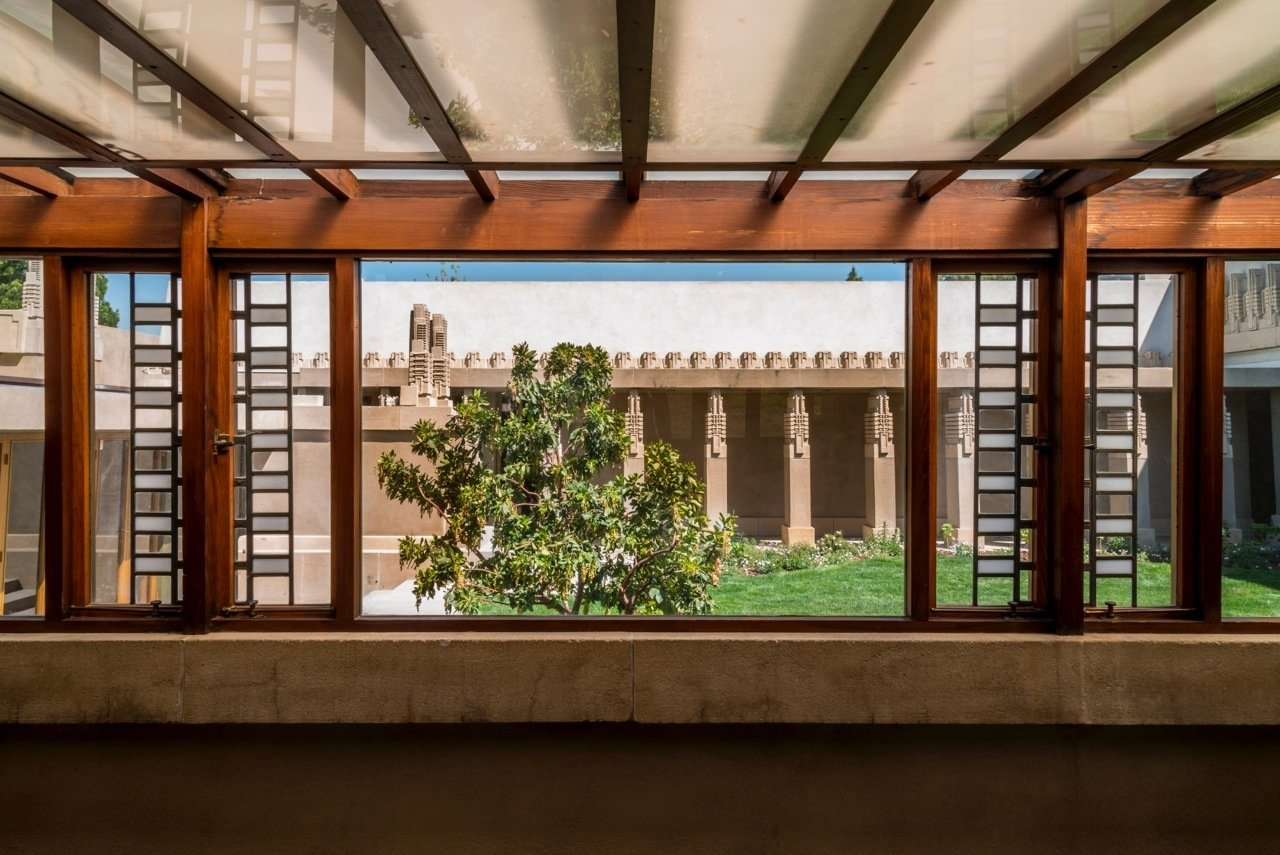 The view of the interior courtyard. To mark the occasion of the reopening, Mayor Eric Garcetti and Councilmember Mitch O'Farrell will lead an Official Ribbon Cutting Ceremony with the project's collaborators at 4:00 p.m. at the Hollyhock House on February 13, 2015. Following this, for one night only, the City of Los Angeles and the Barnsdall Art Park Foundation will open Hollyhock House for self-guided tours for 24 hours, commencing at 4:00 p.m. on February 13 until 4:00 p.m. on February 14, 2015. Visitors are invited to enjoy the event and share with others via social media with the #WrightAtNight hashtag.  Photo 2 of 6 in A Frank Lloyd Wright Gem in Los Angeles Reopens to the Public