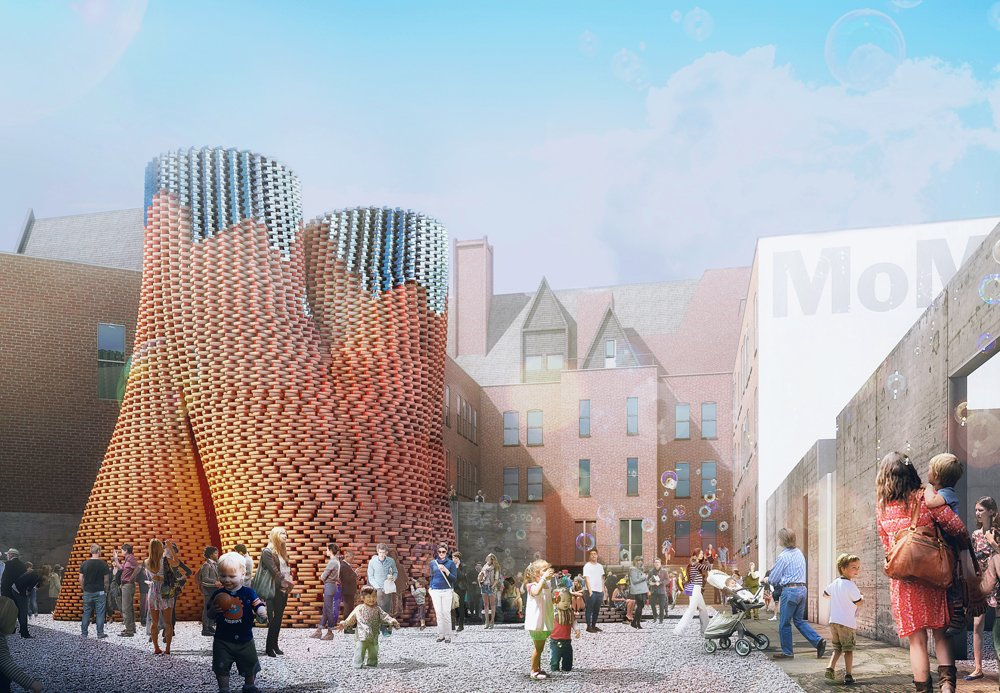 New York architecture firm The Living, led by David Benjamin, won this year's competitive MoMA/PS1 Young Architects Program competition. The firm will build its project Hy-Fi using biological technologies that create new building materials in a familiar shape: the brick.  Photo 1 of 5 in Carbon-Neutral Brick Tower Coming to MoMA's PS1 This Summer