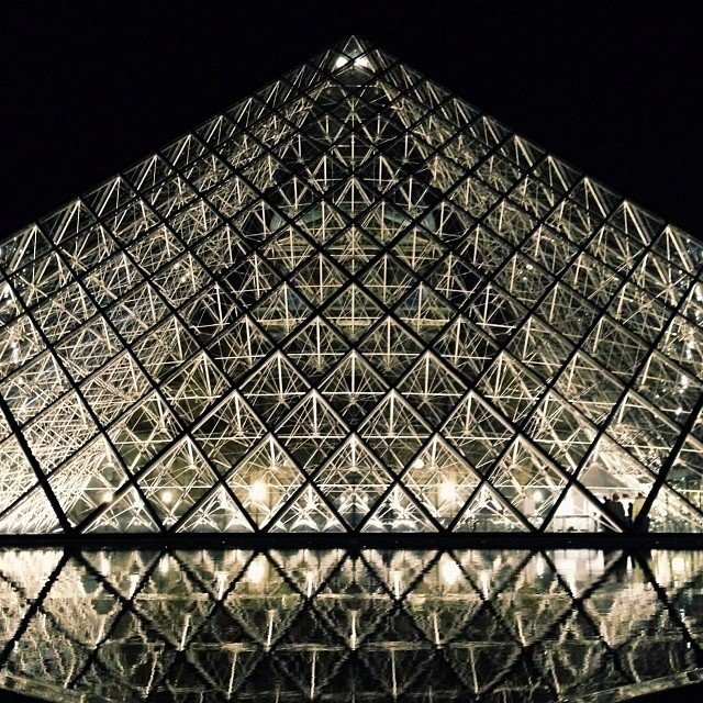 The Louvre Pyramid by I.M.Pei, installed in 1998. Quite stunning at night!  Photo 7 of 12 in 10 I.M. Pei Buildings We Love from Things We Saw in Paris (Maison&Objet 2014 Part Three)