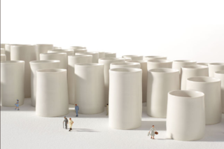 In Besengez's porcelain 'Cup Town,' small figures draw attention to the architectural structuring of everyday objects.