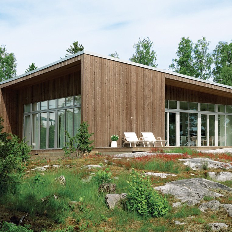 An Asymmetrical Prefab Home in Sweden  It took a mere six months—three in the factory and three on-site—for this prefab to come to fruition on the shore of Sweden's Müsko Island.  Top 10 Houses on Dwell This Week  February 13, 2014 by Jami Smith