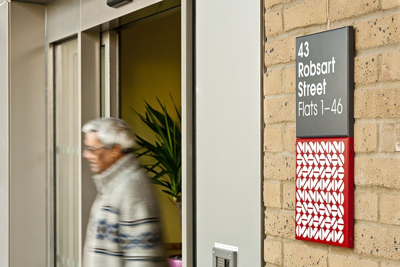 Signage on the Chute House. Photo by hat-trick design.  Photo 2 of 7 in Projectile Motion: Hat-Trick Design's Stockwell Project Bring Local Art to Wayfinding