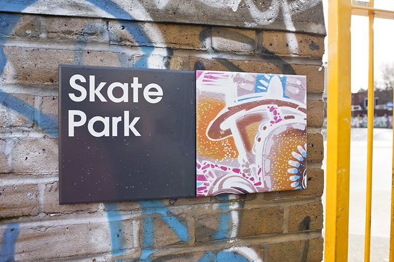 A graffiti-inspired tile by Boyd decorates the Skate Park. Photo by hat-trick design.  Photo 4 of 7 in Projectile Motion: Hat-Trick Design's Stockwell Project Bring Local Art to Wayfinding