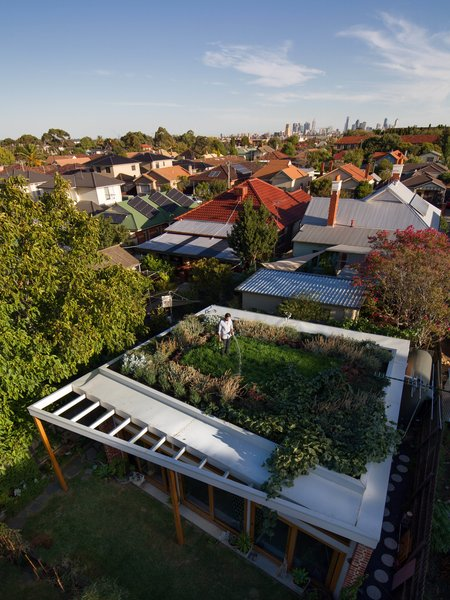 At over 500 square feet, the house's green roof may be its most powerful—and most expensive—environmental statement. It cost $8,000 to waterproof, and $7,000 to landscape. Water from the roof feeds the toilet and the garden's watering system, and the garden itself insulates the house and keeps gas bills low in winter. Photo by Nic Granleese.